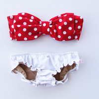 Etsy Transaction -          Vintage Bow Bandeau Sunsuit Bikini . DiVa Halter Neck. Red and White Polka Dot  Halter Neck top White Panties. Sexy and cute Pin up Style