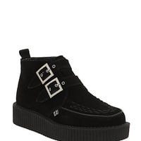T.U.K. Black Suede 2 Buckle Creeper Boots