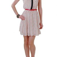 Navy and Orange Printed Collared Dress