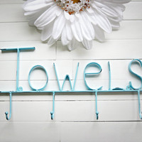 Aquamarine / Towel Holder / Metal Wall Sign / Pool Decor / Beach Decor / Towel Hooks / Bathroom Accessories / Word Wall Art