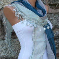 Silvery Shawl Scarf -  Cowl - Blue