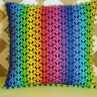 Peace Sign Pillow Cover in Multi-Color Pillow Cover Only | JRsPillowsandBags - Housewares on ArtFire