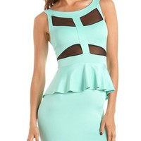 Mesh Cutout Scuba Peplum Dress: Charlotte Russe