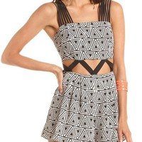 Strappy Cutout Geo Print Romper: Charlotte Russe