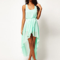Temptation  your eyes —  Mint chiffon Long skirt dress