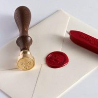Fleur de Lys Wood Handle Wax Seal Set with Red Wax