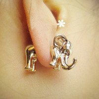 Temptation  your eyes — Animal metallic solid elephants African elephant stud earrings