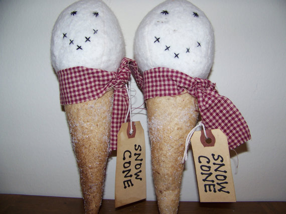 Set of 2 Primitve Snow Cone Ornies by MondaysChildPrims on Etsy