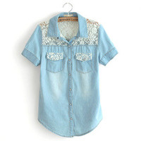 Lace strapless cowboy shirt show thin short denim shirt with short sleeves