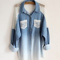 Bat sleeve loose lace collar long denim shirts