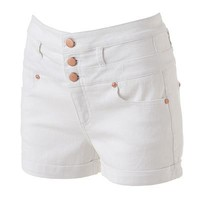 Tinseltown High-Waist Cuffed Denim Shortie Shorts - Juniors