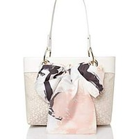 White small scarf tote bag