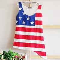 Retro American Flag Printed Vest T-shirt