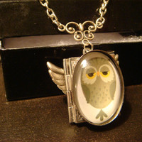 Owl Book Locket Necklace with Wings- (1102)