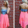 Strapless Cutout Tie Dye Spot Dress with Neon Coral Skirt
