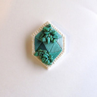 Geometric emerald green brooch embroidered with howlite  beads in diamond shape mint greens