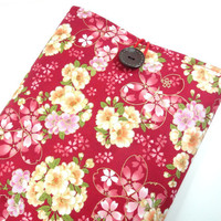 "11"" Macbook Sleeves, Handmade In Canada, Great Gift Ideas, Japanese Kimono Cotton Fabric Cherry Blossoms Antique Red"