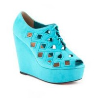 Suede Cut Out Lace Up Wedge Shootie: Dots.com