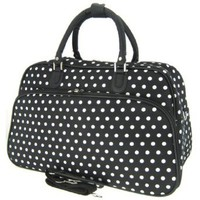 "Amazon.com: Teens and Women's Overnight, Weekend, or Gym 21"" Duffle Bag (Polka Dots - Black/White): Clothing"