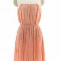 Romantic Pink Sleeveless Pleated Dress