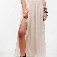 Sparkle &amp; Fade Side Slit Crushed Silky Maxi Skirt