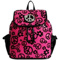 Amazon.com: Soft Velvety Peace Sign Small Backpack Purse (pink): Clothing