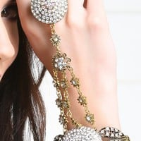 Gold Rhinestone Dome Ring To Wrist Bracelet and Shop Accessories at MakeMeChic.com