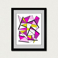 Abstract art print. Geometric print from original geometric painting with pink, yellow, purple, fucsia accents.