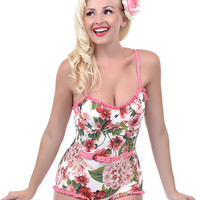 Pink & Green Floral Belted Bathingsuit - Unique Vintage - Prom dresses, retro dresses, retro swimsuits.