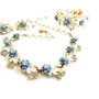 Vintage Blue White Enamel Flower Rhinestones Set, Floral Necklace, Earrings, Bracelet, Full Parure