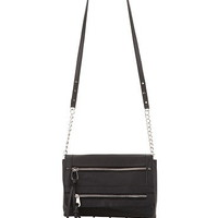 Double Zipper Flap Front Crossbody Bag