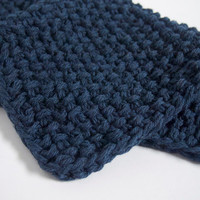 hand knit plushy cotton washcloth in midnight denim blue
