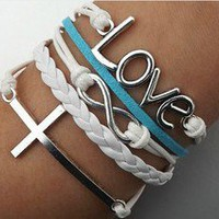 Cross love alphabet bracelet