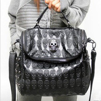 Skull Leather Handbag Shoulder Bag