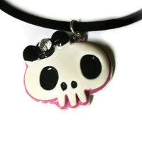 Girly Skull Necklace. Monster High Inspired. White Pink and Black Resin Charm on Black Silicone Velvet Coated Cord.