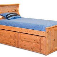 Henry Lee Twin Size Bookcase Captain&#x27;s Bed