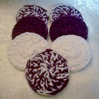 Crochet Handmade Set of 7 Scrubbies Purple & White Mix