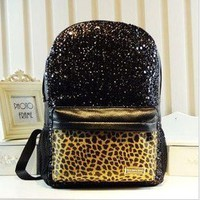 shego shopping mall  Cool Shiny Sparking Leopard Backpack Bag