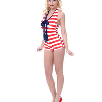 LOLITA GIRL Red & White Stripe One Piece Admiral Romper Swimsuit - Unique Vintage - Prom dresses, retro dresses, retro swimsuits.