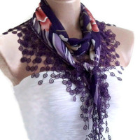 Necklace scarves, Traditional Turkish-style, Headband, scarf, Purple and lavender, fashion 2013, Mothers day