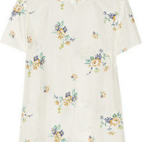 Band of Outsiders|Floral-print silk-habotai top|NET-A-PORTER.COM