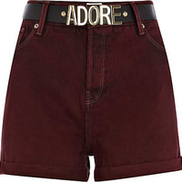Dark red high waisted belted denim shorts
