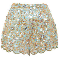 Blue Embellished Short