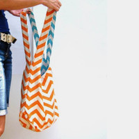 Over Shoulder Purse. Mom Bag. Orange Chevron Purse. Reversible Purse. Mix n Match Pantone Colors Chevron and Solids.