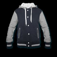 Womens Varsity Hooded Sweatshirt Jacket