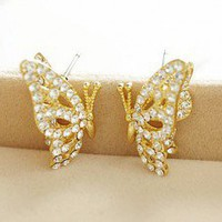 Cute Rhinestone Butterfly Stud Earrings