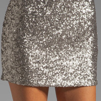 MM Couture by Miss Me Short Sequin Skirt in Silver from REVOLVEclothing.com