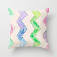 California Style Chevron Throw Pillow by Catherine Holcombe