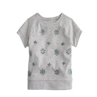 Girls&#x27; short-sleeve jeweled sweatshirt - knits &amp; tees - Girl&#x27;s new arrivals - J.Crew