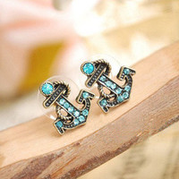 European and American retro navy diamond sea anchor earrings & stud